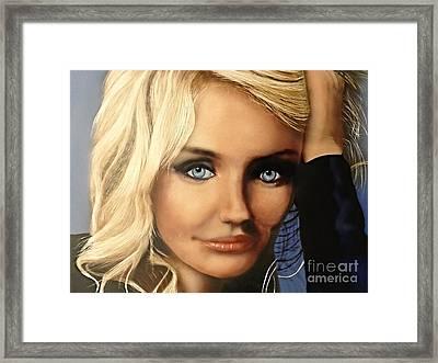 Cameron Diaz Portrait  Framed Print