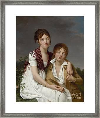 Portrait D'amelie-justine Et De Charles-edouard Pontois Framed Print