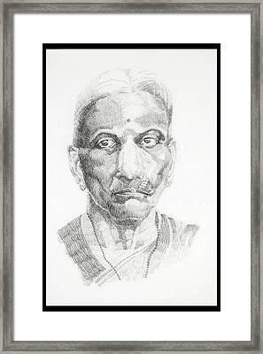 Portrait Drawing Of A Great Grand Parent A Brahmin Lady With A Nosering Framed Print by Makarand Joshi
