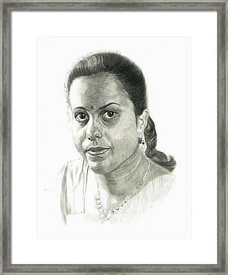 Portrait Drawing Of Indian Girl Framed Print by Makarand Joshi