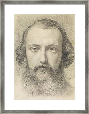 Portrait - Head Study Of Daniel Casey Framed Print by Ford Madox Brown