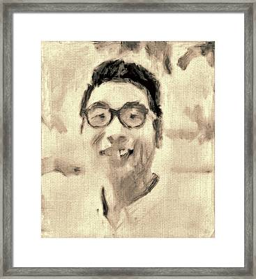Portrait In Brown Sepia On Canvas In Oil Just The Underpainting Framed Print by MendyZ
