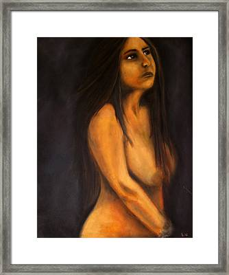Portrait In Oil Framed Print by Lou Ewers