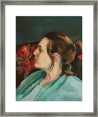 Portrait In Profile Framed Print by Synnove Pettersen