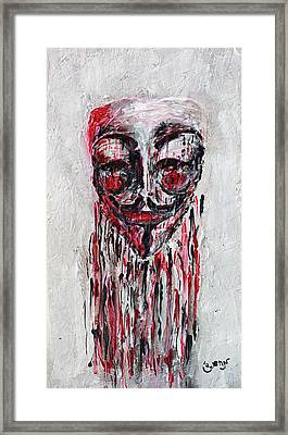 Portrait Melting Of Anonymous Mask Chan Wikileak Occupy Guy Fawkes Sopa Mpaa Pirate Lulz Reddit Framed Print