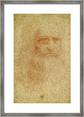 Portrait Of A Bearded Man, Possibly A Self Portrait Framed Print by Leonardo da Vinci