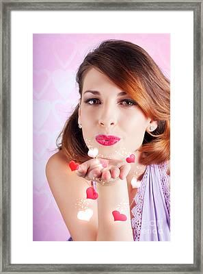Portrait Of A Beautiful Woman Blowing Heart Kiss Framed Print