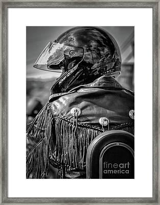 Portrait Of A Biker Framed Print by Kathleen K Parker