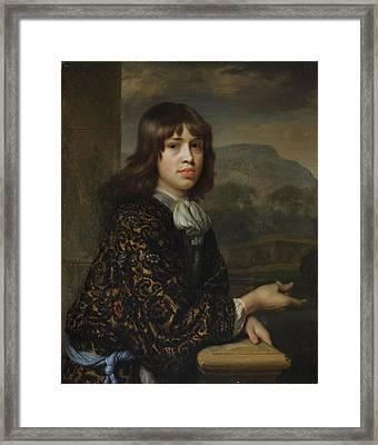 Portrait Of A Boy In A Gold Framed Print by Godfried Schalcken