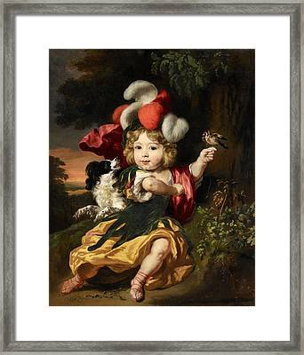 Portrait Of A Boy With A Dog And A Bird Framed Print by MotionAge Designs