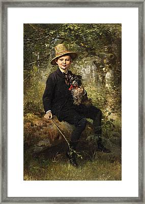 Portrait Of A Boy With A Dog In A Forest Framed Print by Ludwig Knaus