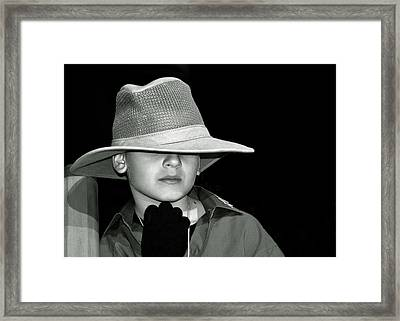 Portrait Of A Boy With A Hat Framed Print