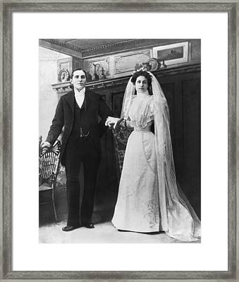 Portrait Of A Bride And Groom Framed Print by Underwood Archives