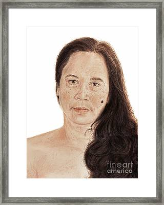 Portrait Of A Filipina With Long Wavy Hair  Framed Print