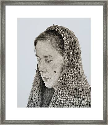 Portrait Of A Filipina Woman With A Mole On Her Cheek And Wearing A Scarf Framed Print