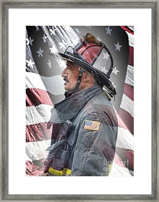 Portrait Of A Fire Fighter Framed Print by Jim Fitzpatrick