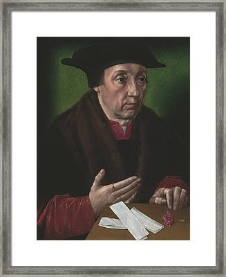 Portrait Of A Gentleman In A Fur-trimmed Black Mantle And Hat Framed Print by Ambrosius Benson