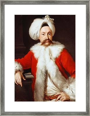 Portrait Of A Gentleman In Oriental Costume Framed Print by Andrea Soldi