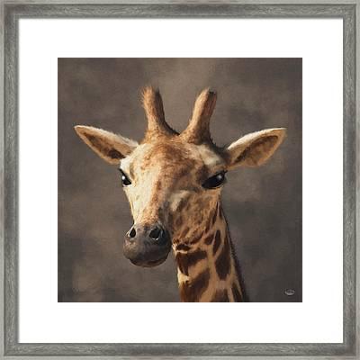 Framed Print featuring the digital art Portrait Of A Giraffe  by Daniel Eskridge