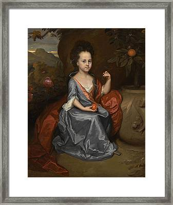 Portrait Of A Girl Believed To Be Miss Anne Conslade Framed Print