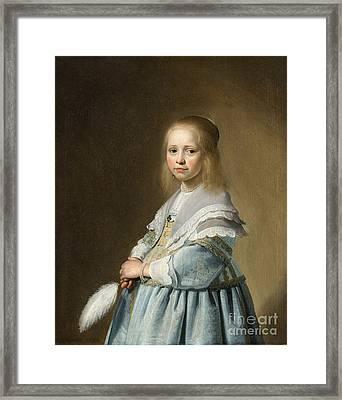 Portrait Of A Girl Dressed In Blue By J. Cornelisz Framed Print