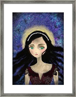 Portrait Of A Girl In A Forest During The Full Moon Framed Print
