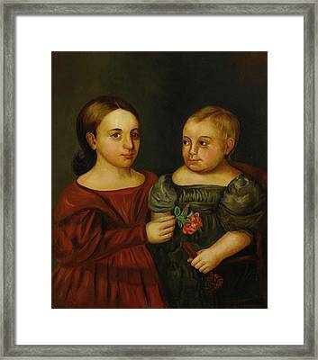 Portrait Of A Girl In A Red Dress Holding A Rose And A Boy In A Gray Dress Framed Print