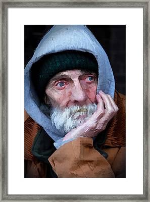 Portrait Of A Homeless Man Framed Print