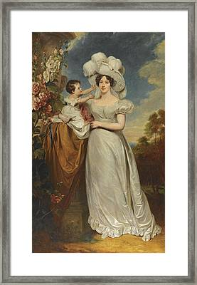 Portrait Of A Lady And Child Framed Print by George Henry Harlow