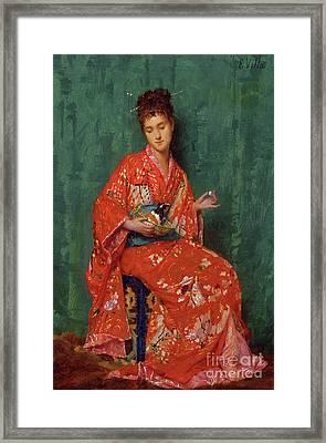 Portrait Of A Lady Framed Print by Emile Villa