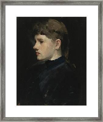 Portrait Of A Lady Framed Print by Frank Duveneck