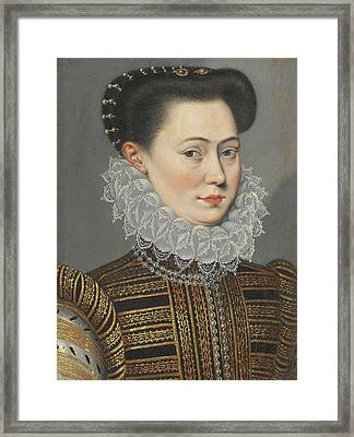 Portrait Of A Lady Head And Shoulders In A Lace Ruff Framed Print