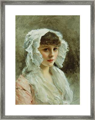 Portrait Of A Lady In A White Bonnet Framed Print by Gustave Jean Jacquet