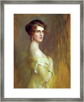 Portrait Of A Lady In Yellow Framed Print by Georgiana Romanovna