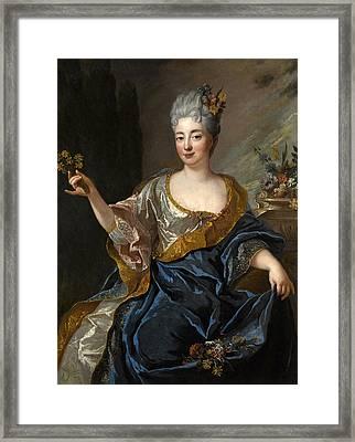 Portrait Of A Lady Three-quarter-length Holding Flowers Framed Print by Francois de Troy