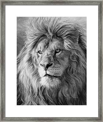 Portrait Of A Lion - Black And White Framed Print by Lucie Bilodeau