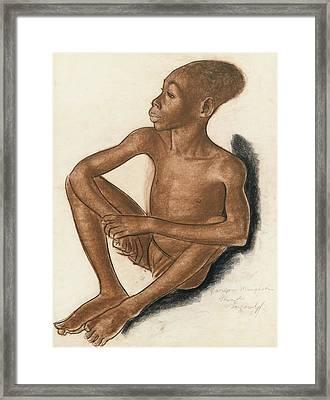 Portrait Of A Mangbetu Boy Framed Print by MotionAge Designs