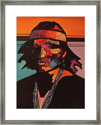 Portrait Of A Native American Indian Framed Print by Jeff Knott