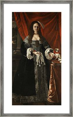 Portrait Of A Noble Lady With Dog Framed Print by Pierfrancesco Cittadini