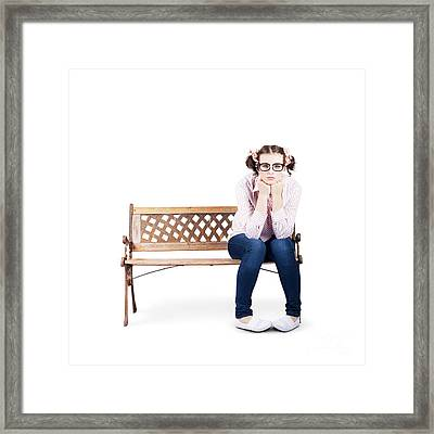Portrait Of A Sad Lonely Woman Alone On Park Bench Framed Print