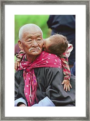 Portrait Of A Senior Bhutanese Man Framed Print by James L. Stanfield