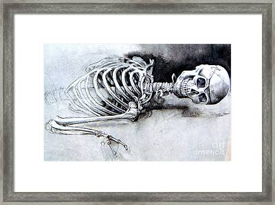 Framed Print featuring the drawing Portrait Of A Skeleton by Linda Shackelford