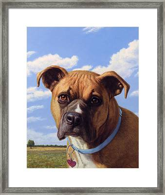 Framed Print featuring the painting Portrait Of A Sweet Boxer by James W Johnson