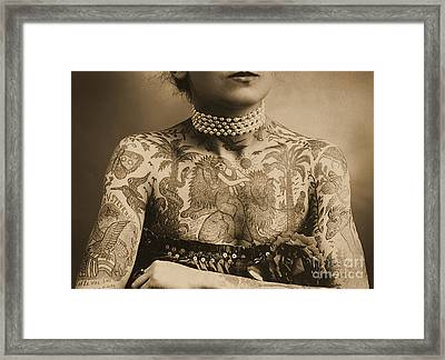 Portrait Of A Tattooed Woman Framed Print