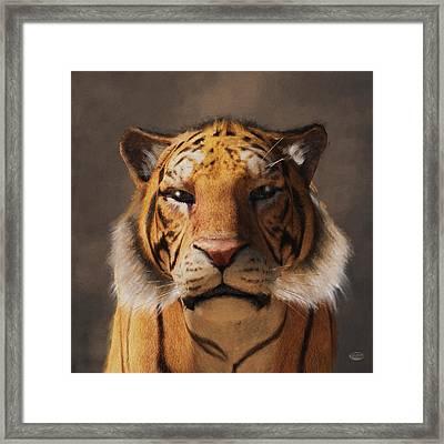 Portrait Of A Tiger Framed Print by Daniel Eskridge