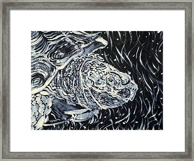 Framed Print featuring the painting Portrait Of A Turtle by Fabrizio Cassetta