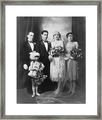 Portrait Of A Wedding Party Framed Print by Underwood Archives
