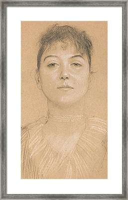 Portrait Of A Woman Framed Print by Gustav Klimt