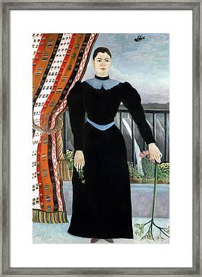 Portrait Of A Woman Framed Print by Henri Rousseau
