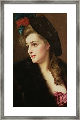Portrait Of A Woman In A Hat Framed Print by Gustave Jacquet